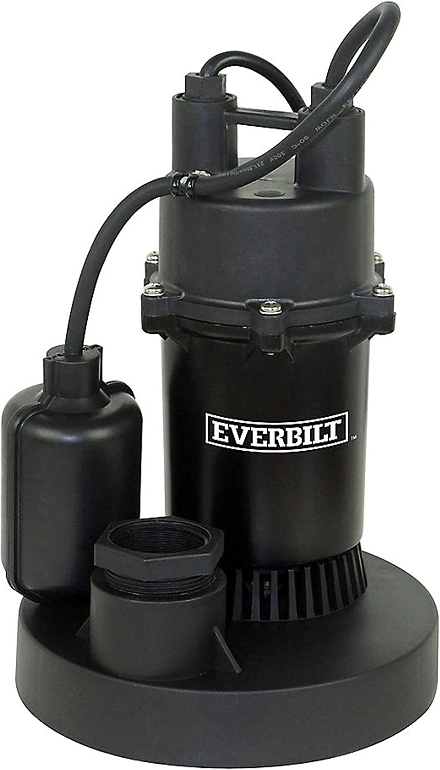 Everbilt 1/3 HP Aluminum Submersible Sump Pump with Tether