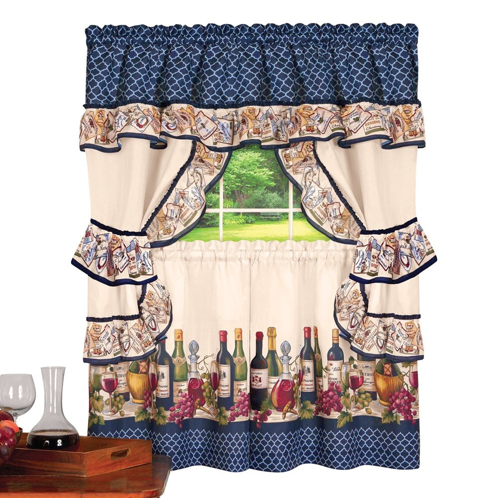 Collections Etc Country Wine, Vineyard Scene Rod Pocket Top Window Curtain Set with 2 Tier Panels, Ruffled Tiebacks and Swag Valance, 57