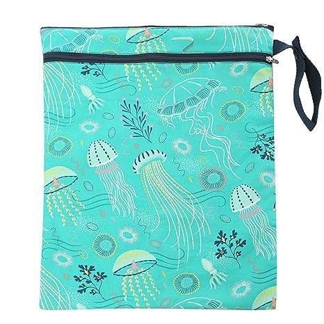 DZT1968 Reusable Wet Diaper Pad Newborns Foldable Cartoon Waterproof Wet Reusable Washable Portable Diaper ag Storage Bag by
