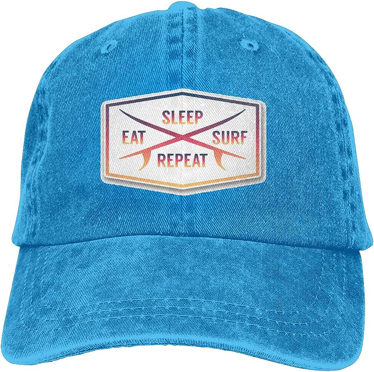 Q89 Eat Sleep Surf Repeat Unisex Personalize Cowboy Outdoor Sports Hat Adjustable Baseball Cap