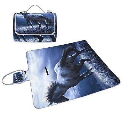 Coosun Dark Horse Couverture de pique-nique Sac pratique Tapis résistant aux moisissures et étanche Tapis de camping pour les pique-niques, les plages, randonnée, Voyage, Rving et sorties