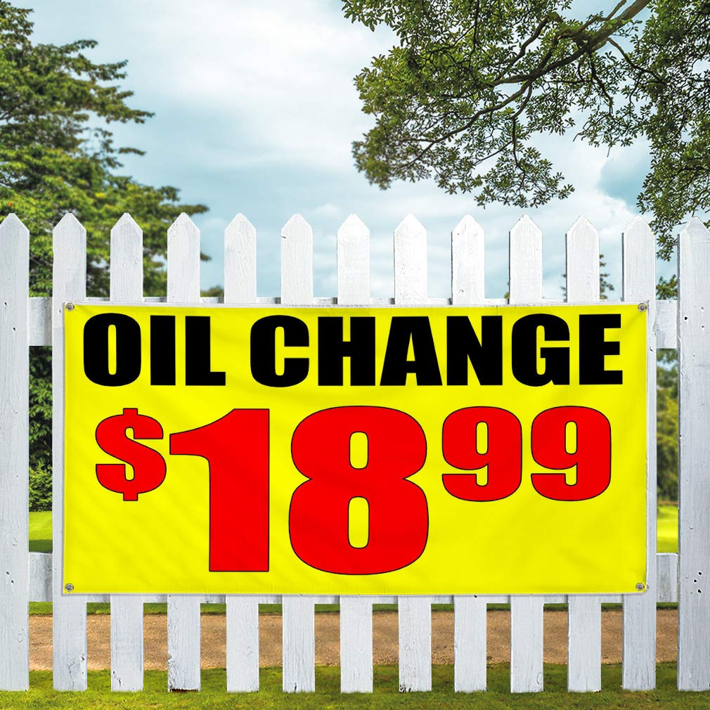4 Grommets 28inx70in Multiple Sizes Available Set of 2 Vinyl Banner Sign Oil Change Special Yellow Orange Business Marketing Advertising Yellow