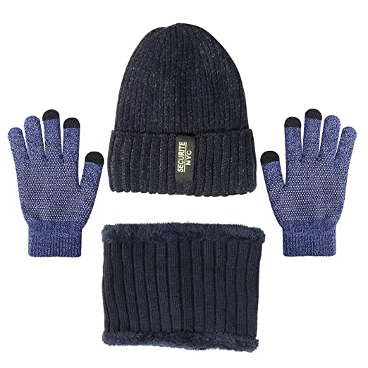 f75ae69318605 Dorhea Beanie Hat for Men and Women Scarf Gloves Set Winter Warm Hats Knit  Hat and