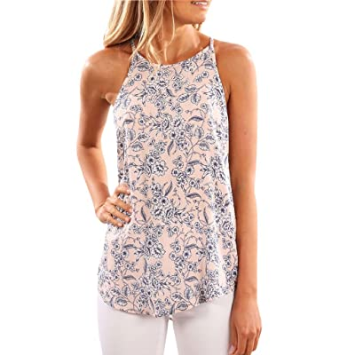 Doober Womens Ladies Sleeveless Vest Tank Tops Summer Beach Floral Blouse Loose T Shirt