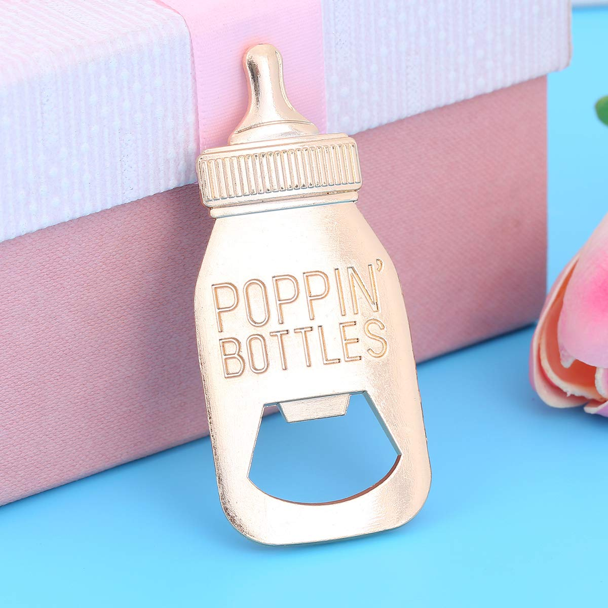 24 pcs Baby Shower Return Gifts for Guest Supplies Poppin Baby Bottle Shaped Bottle Opener Wedding Favor with Exquisite Packaging Party Souvenirs Gift Decorations by WeddParty (Blue 24pcs) by WeddPtyFr (Image #6)