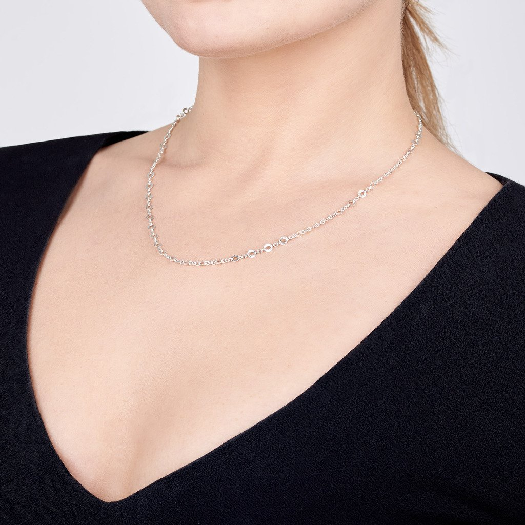 Amberta 925 Sterling Silver 1.5 mm Trace Chain with 4 mm Disc 16 18 20 22 in