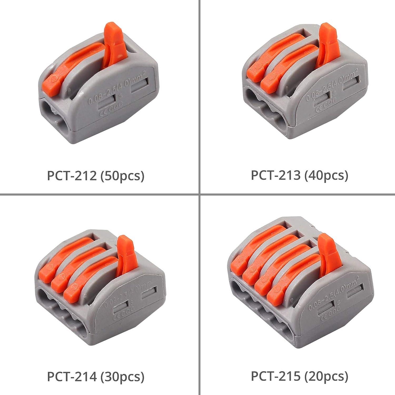 PCT-214 PCT-213 140PCS Conjunto de Conectores PC Aislante Kit de Bloque de Terminales Conector de Empalme Compacto PCT-212 PCT-215 Conectores El/éctricos Rapidos