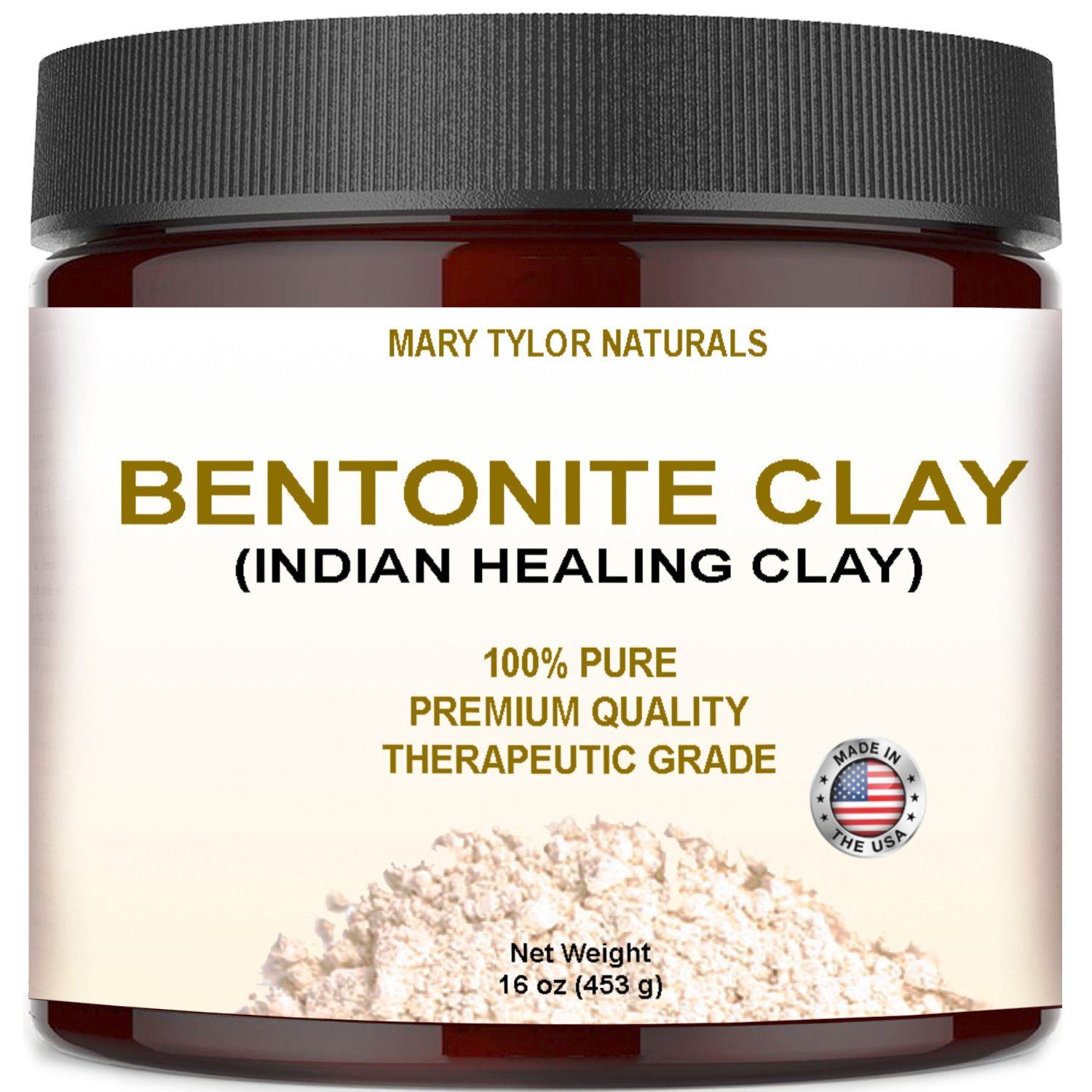 Bentonite Clay Large 16 oz Jar, Indian Healing Clay Powder By Mary Tylor Naturals tural Healing Facial Mask, Deep Pore Cleansing, Removes Excessive Facial Oil, Reduces Acne, Made in the USA