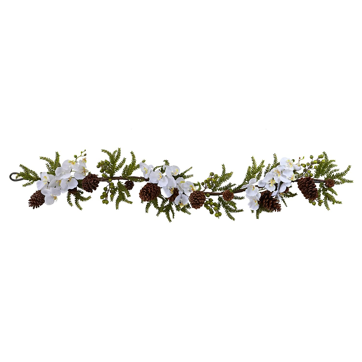Nearly Natural 4947 Phalaenopsis Orchid and Pine Garland, 60-Inch, Green/White