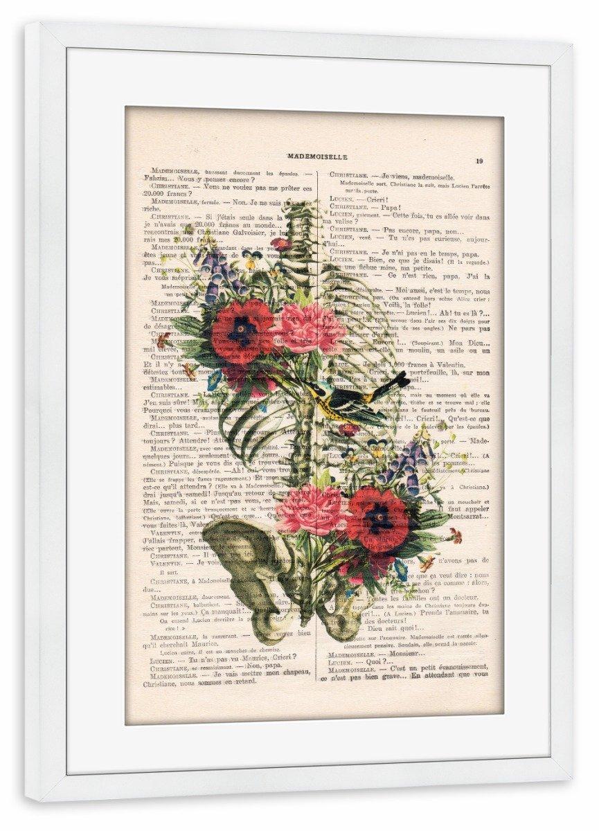 ArtboxONE Poster mit Rahmen Weiß 45x30 cm Ribcage with Flowers 01