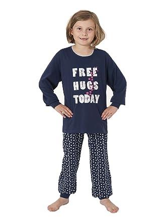 2834b82057 NORMANN WÄSCHEFABRIK Mädchen Schlafanzug Pyjama langarm mit Bündchen in  Tupfen Optik 58596 Schlafanzüge: Amazon.de: Bekleidung