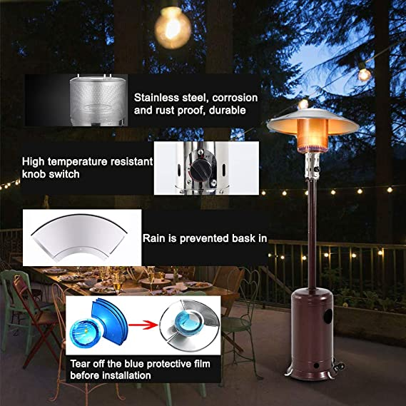 Amazon Com 47000btu Commercial Gas Standing Patio Heater Lp Propane Heater Garden Tall Outside Outdoor Heater With Wheels Cover Hammered Bronze Kitchen Dining