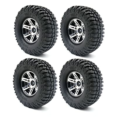 LAFEINA 4PCS 100mm 1.9 Inch Rubber Tires with Metal Beadlock Wheel Rim for 1:10 RC Crawler Axial SCX10 Tamiya CC01 D90 D110 RC Car Parts: Toys & Games