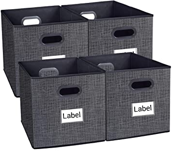 Homyfort Cloth Storage Bins, Foldable Cubes Box Basket Organizer Container  Drawers with Dual Plastic Handles for Closet, Bedroom, Toys,Set of 4 Black  ...