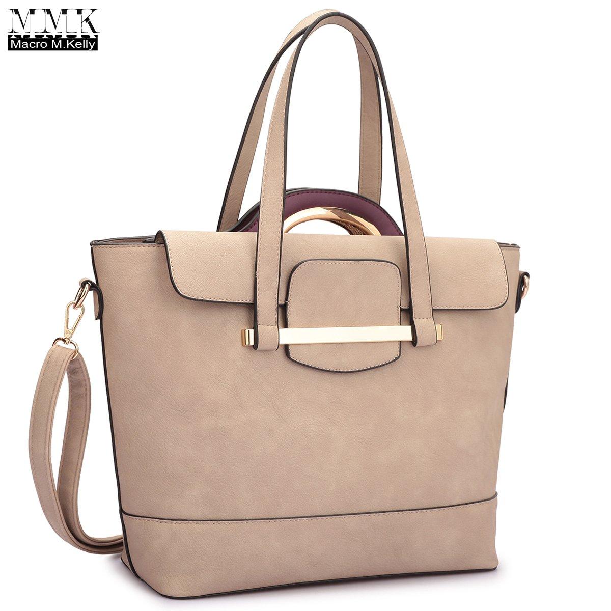 MMK collection Fall~winter color handbag~ New fashion 2 in one Satchel handbag and Tote bag set~beautiful handbag~Perfect Designer Set(7057-Stone/Purple)