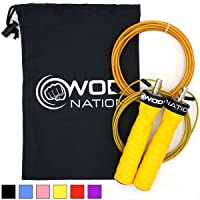 (Yellow) - Attack Speed Jump Rope by WOD Nation - Adjustable Jumprope with Lightning Fast Ball Bearings - Unique 2 Cable System - 1 Heavy and 1 Light 3.4m Cable - Perfect for Double Unders, Boxing & MMA Training