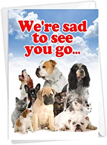 NobleWorks - Adorable Retirement Card with Envelope - Group Greeting Card from Office, Work Employees - Pet Coworkers C3636RTG-US