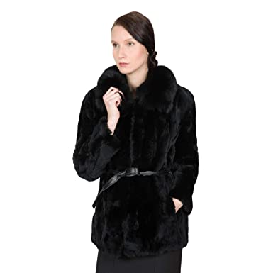 7bd485ebe OBURLA Women's Real Rex Rabbit Fur Coat with 100% Fox Fur Collar and Genuine  Leather