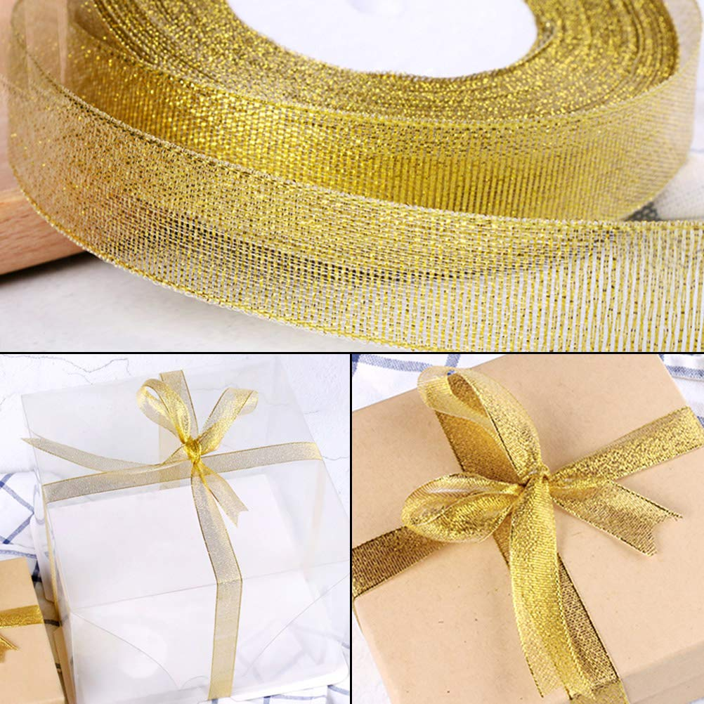 pengxiaomei 2 Pack Gold Organza Ribbon,25 Yards 20mm Wide Glitter Trimmings Decorative Wrapping Ribbons for Gift,Crafts