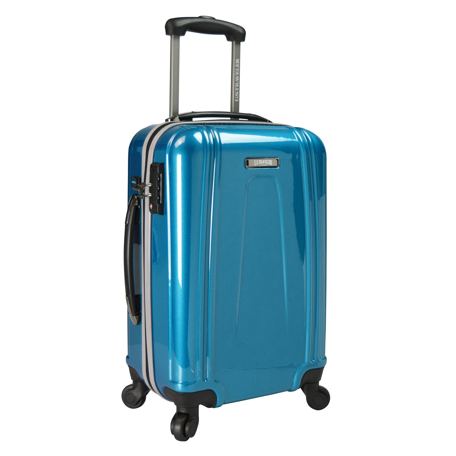 U.S. Traveler US09037E22 22 USB Port EZ-Charge Carry-On Spinner, Teal, One Size TRB3I