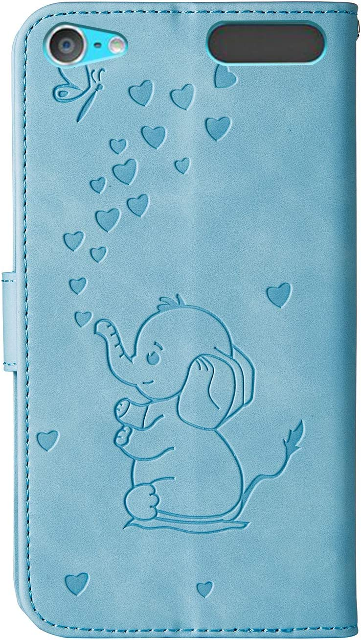 Premium PU Leather Magnetic Flip Cover with Card Slots Holders Pressed Elephant Grandoin Case Compatible with iPod Touch 7 // iPod Touch 6 // iPod Touch 5 Bookstyle Wallet Case Blue