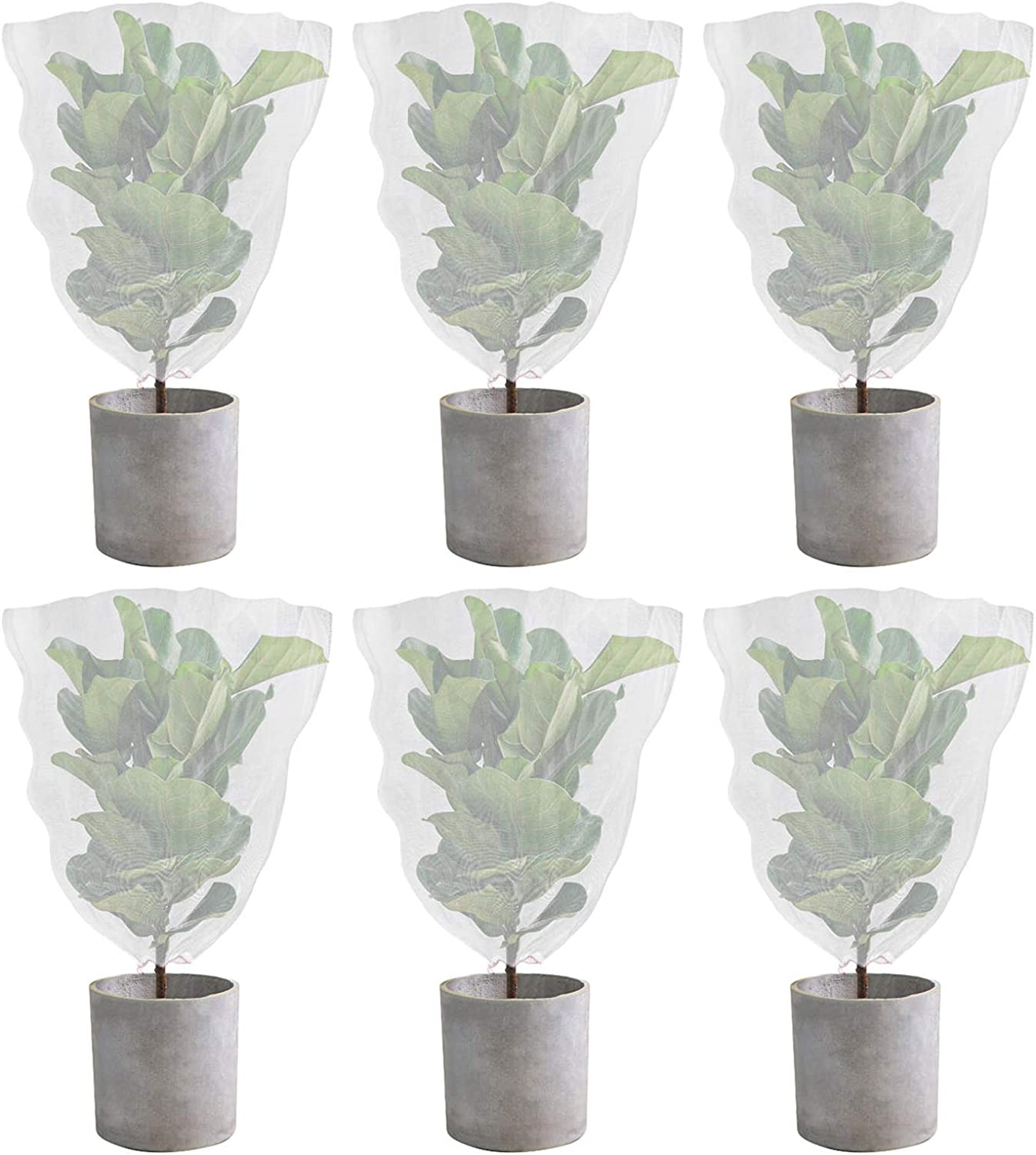 Yopay 6 Pack Barrier Net Mesh with Drawstring, 3.4Ft x 2.3Ft Garden Plant Bird Barrier Cover to Protect Plant Fruits Trees Flower from Insect Bird Eating, Extra Strong, Ventilated