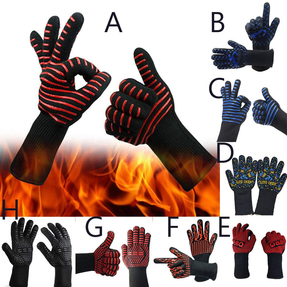 Hot BBQ Grilling Cooking Glove Extreme Heat Resistant Oven Welding Cutting Gloves Extreme Heat Resistant (F) by Dasuy (Image #3)