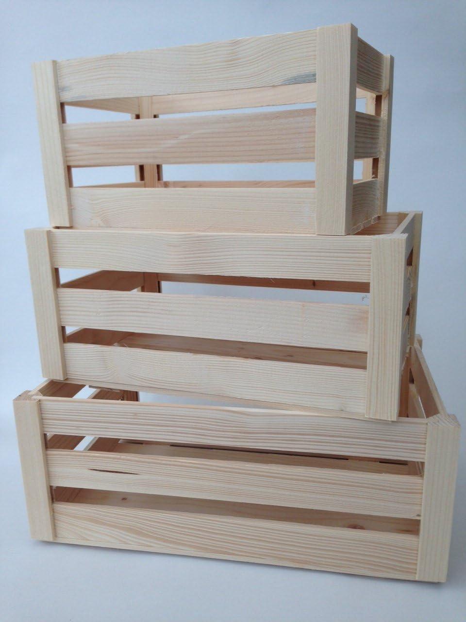 Conjunto - Todos 3 Conjunto de cofres de madera no pintada Conjunto Cofre Veg Fruta Almacenaje Caja Peque/ña Caja de arte