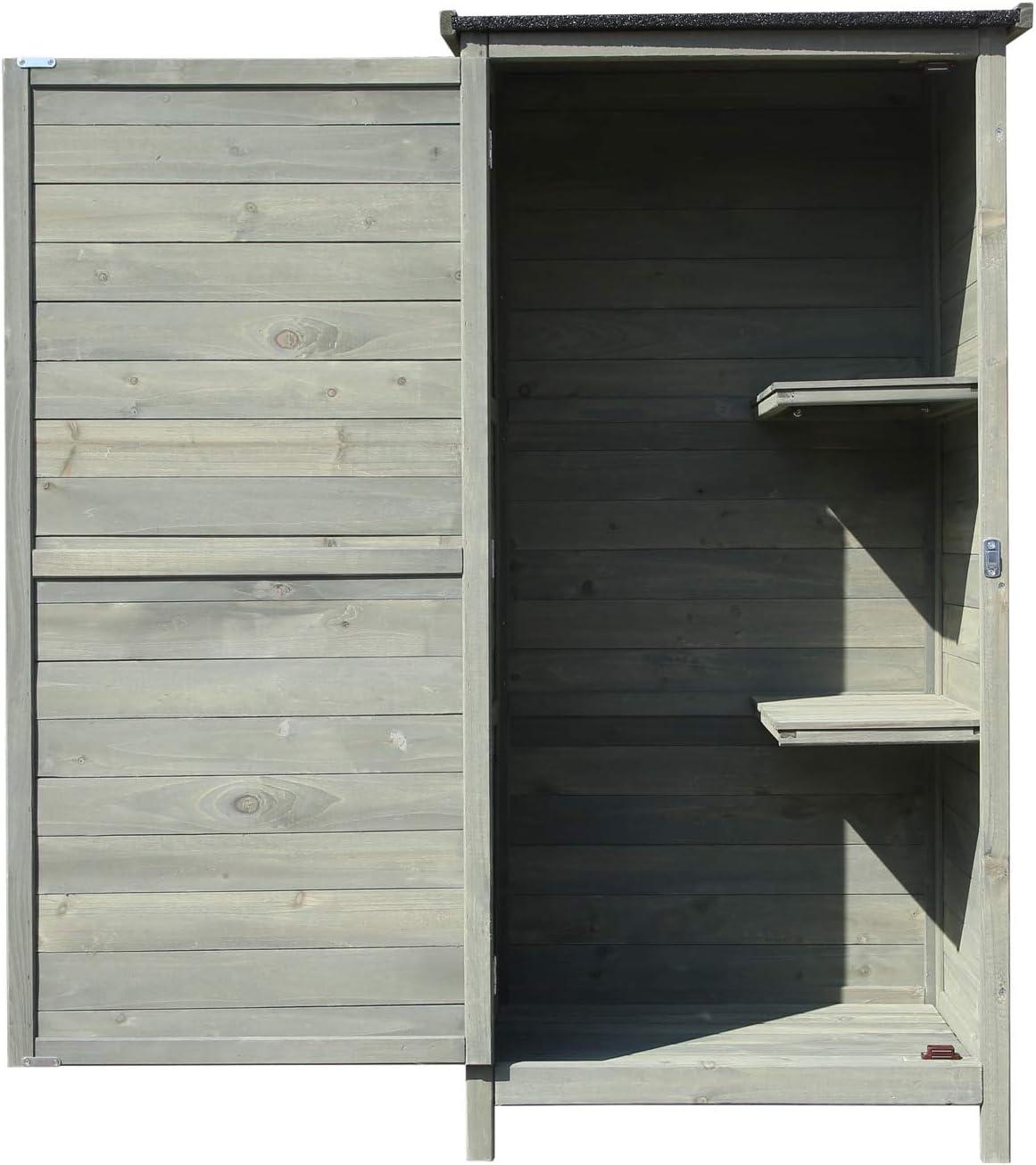 Armario para jardín de madera 69,5x52x142cm con tejado alquitranado plano y puerta, mueble exterior