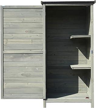 Armario para jardín de madera 69,5x52x142cm con tejado alquitranado plano y puerta, mueble exterior: Amazon.es: Bricolaje y herramientas