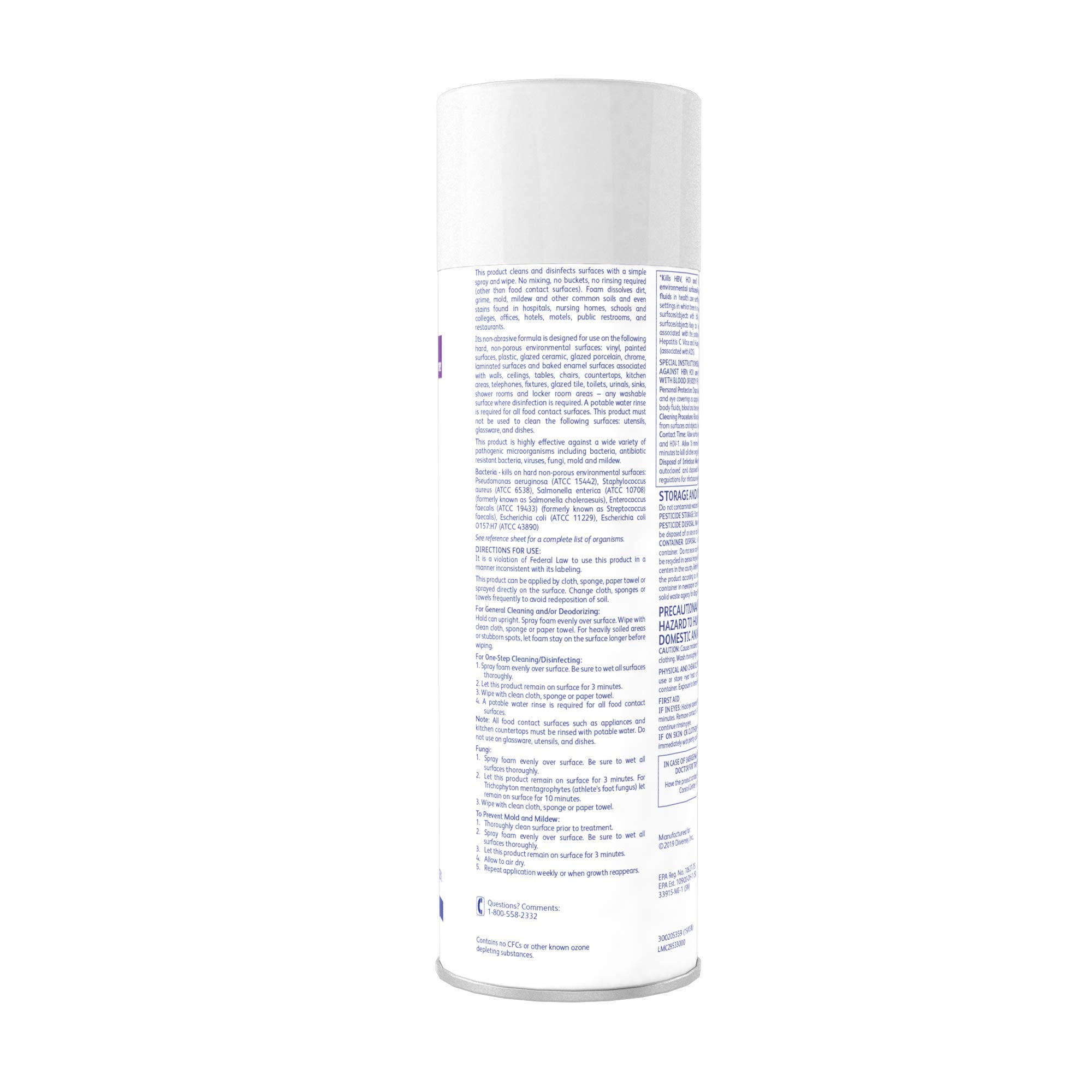 Diversey Envy 04531 Foaming Disinfectant Cleaner, 12 x 19 oz./539 g Aerosol by Diversey (Image #3)