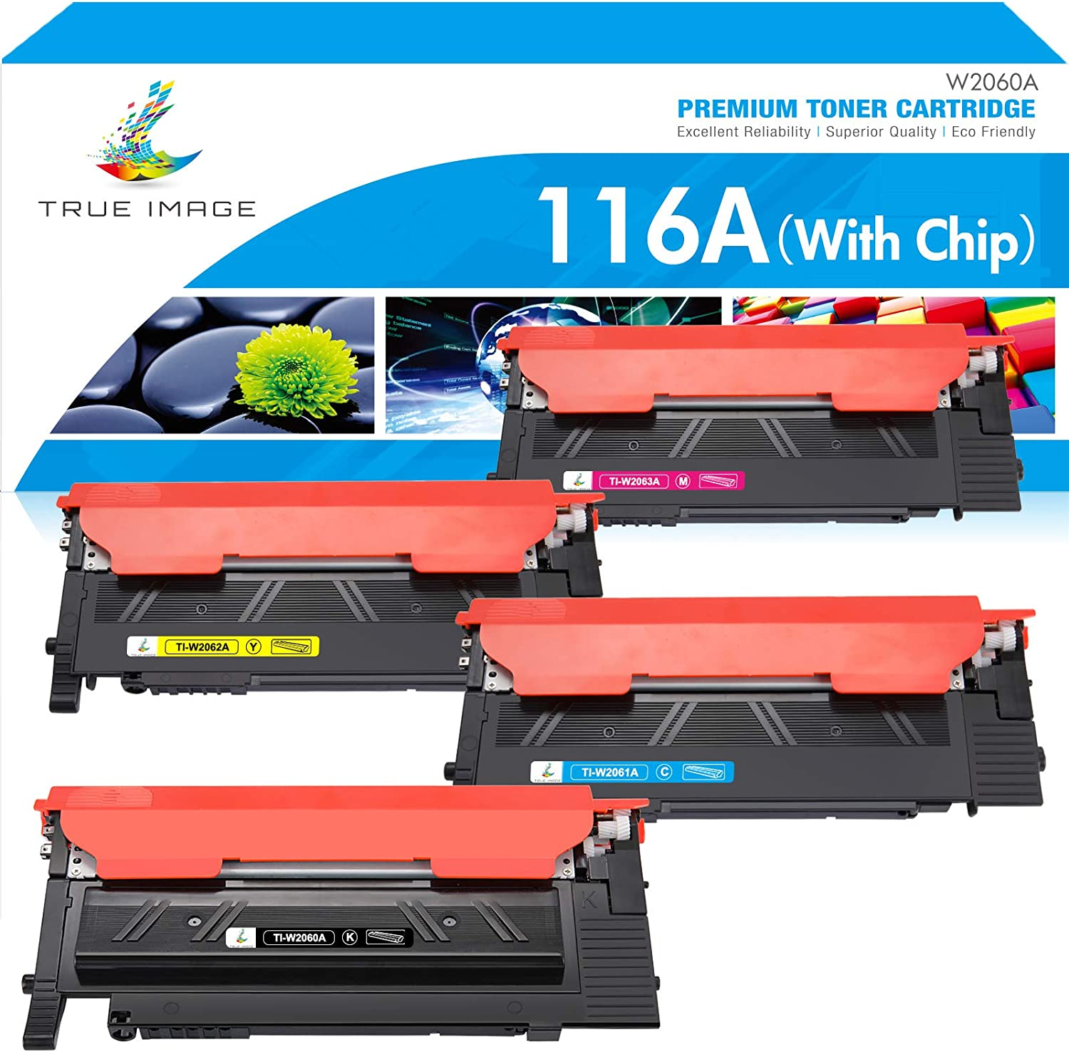 True Image Compatible Toner Cartridge Replacement for HP 116A W2060A HP Color Laser MFP 178nw 179fnw 178nwg 179fwg 150a 150nw W2061A W2062A W2063A Printer (Black Cyan Yellow Magenta, With Chip, 4Pack)