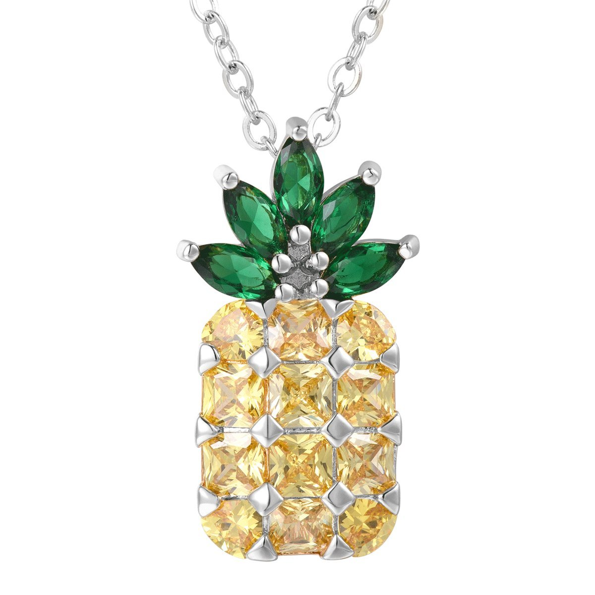 FOCALOOK Pineapple Necklace Gold Plated Brooch Cubic Zirconia Fruit Pendant Jewelry for Women FOCALOOK JEWELRY FB9012W-USA