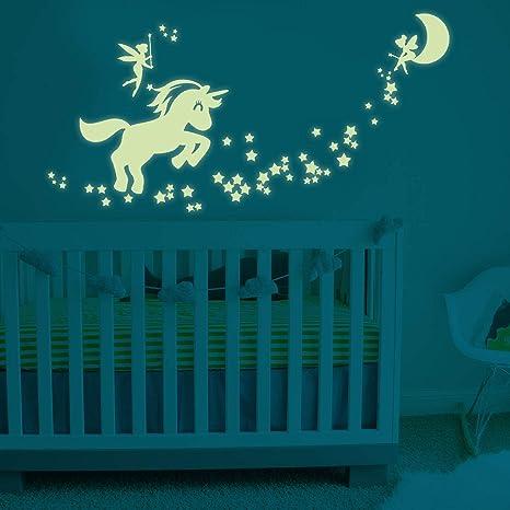 1X PVC Cartton Fairy Animal Glow In The Dark Luminous Kids Bedroom Wall Stickers