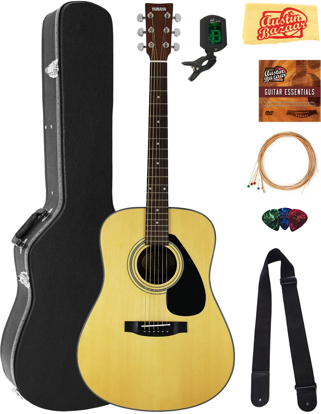 Yamaha F325D Dreadnought Acoustic Guitar Bundle with Hard Case, Tuner, Strings, Strap, Picks, Austin Bazaar Instructional DVD, and Polishing Cloth by YAMAHA