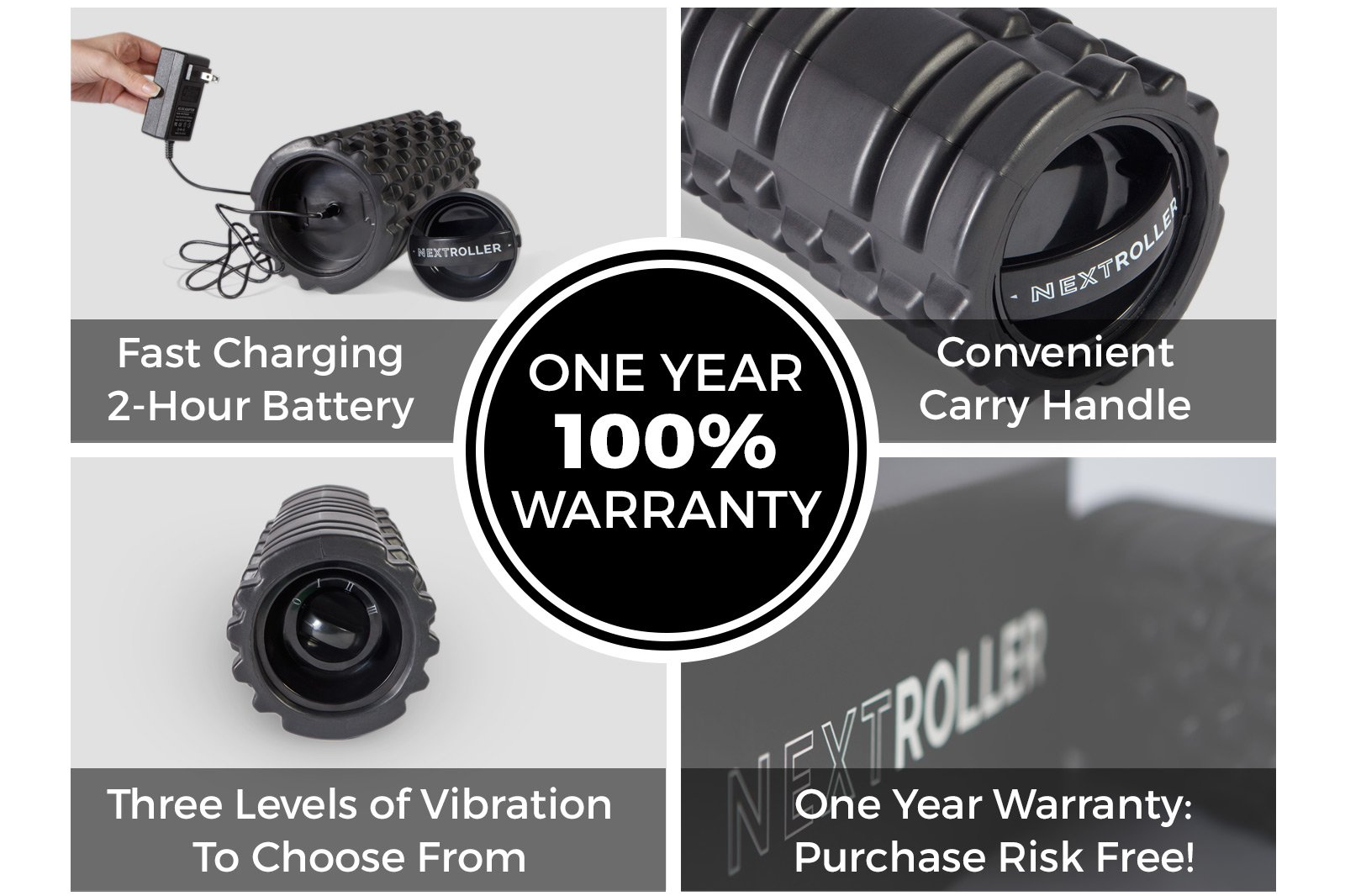 NextRoller 3-Speed Rechargeable Electric Vibrating Foam Roller - The Future of Muscle Recovery, Mobility, and Deep Tissue Trigger Point Sports Massage Therapy - Firm High Density, 1 Year Warranty by NextRoller (Image #3)