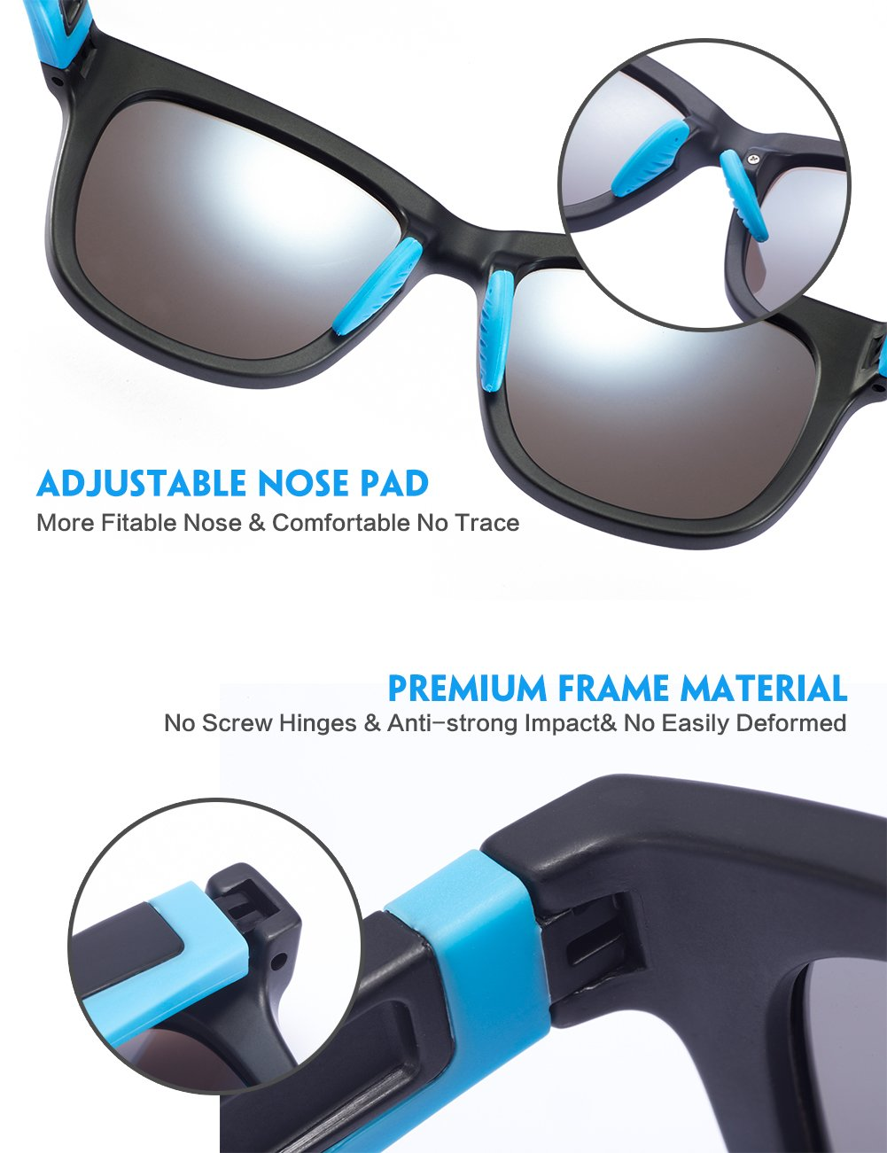IALUKU Mens Womens Classic Polarized Wayfarer Sunglasses Large Frame Ultra Light (Blue, 53)