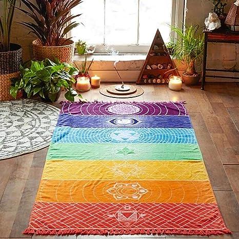 MODEOR Tapiz de Chakra arcoíris para Yoga, Protector Solar ...