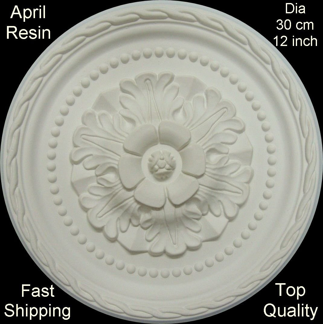 Ceiling Rose Strong Resin - 300mm 'April' Dales Decor