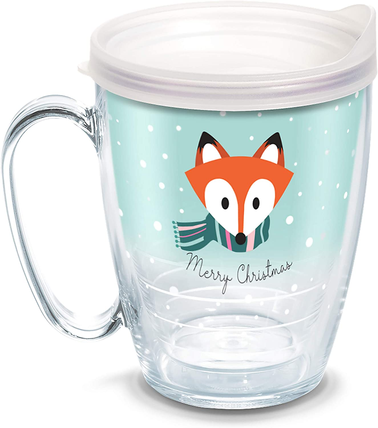 Tervis 1334971 Christmas Fox Insulated Tumbler with Wrap and Frosted Lid, 16 oz, Clear