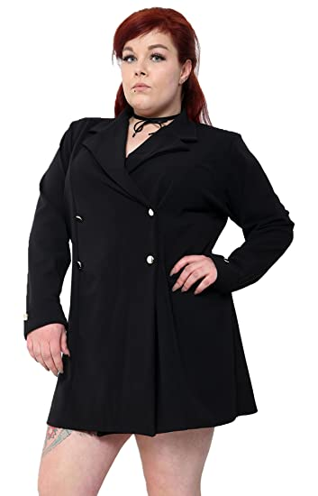 bb0d2b4abbe17 Womens Long Sleeve Wrapover Gold Button Detail Plunge Mini Blazer Dress  14-28  Amazon.co.uk  Clothing
