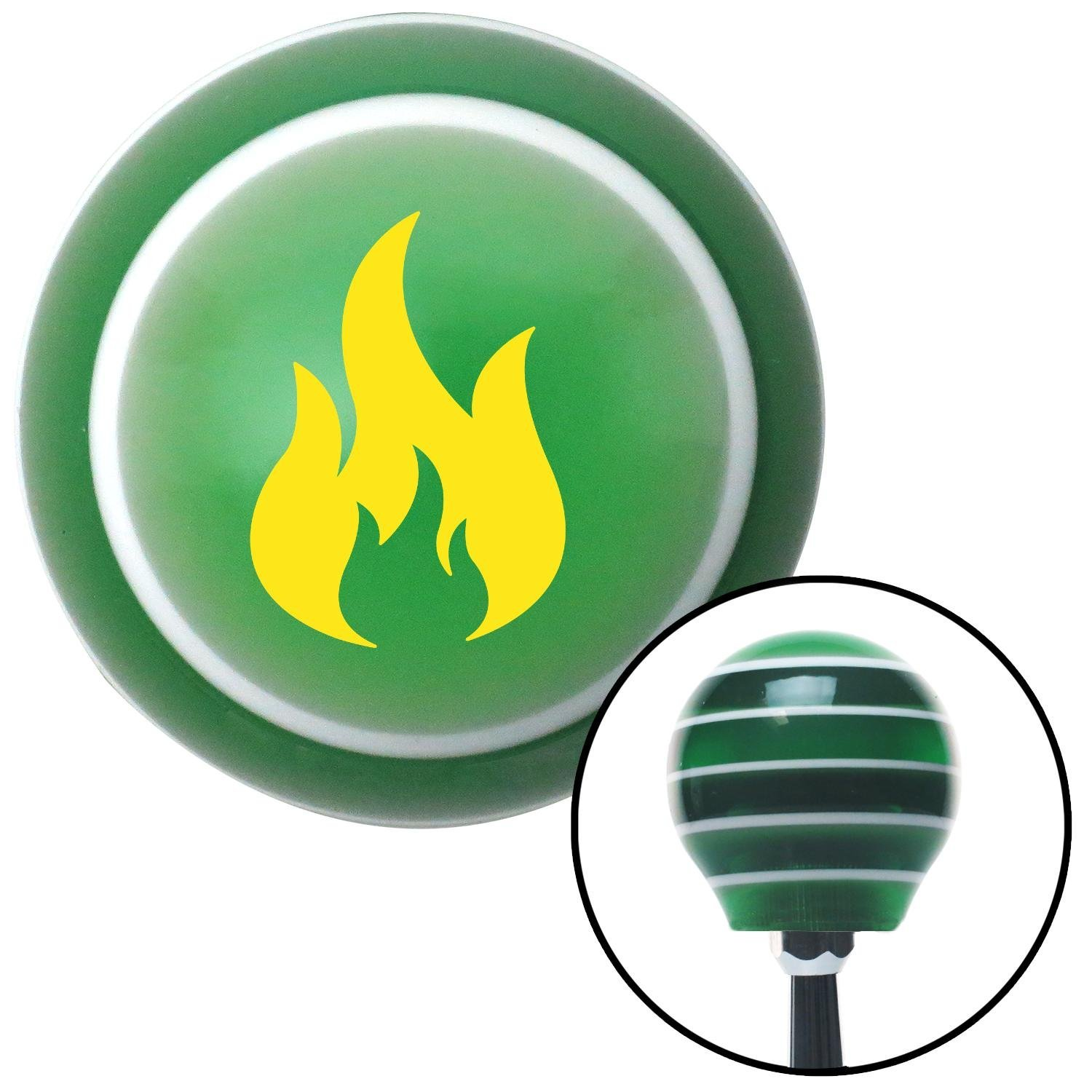 American Shifter 122309 Green Stripe Shift Knob with M16 x 1.5 Insert Yellow Flames