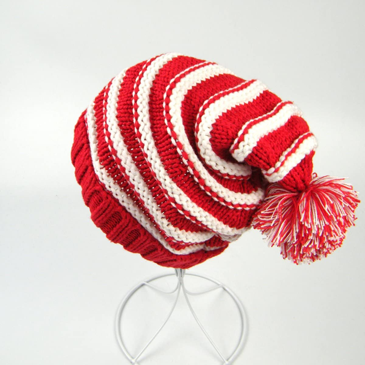 Red White LUOEM Classic Warm Adorable Kids Striped Knit Winter Pom Pom Hat Beanie Hats for Christmas