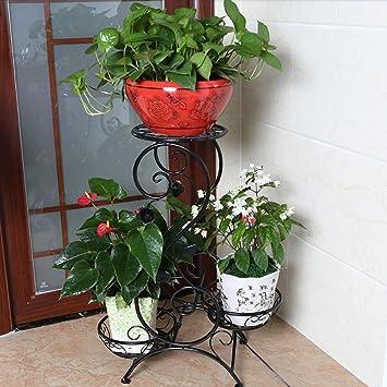 Yu Chuang Xin Hierro de Estilo Europeo de Varias Plantas Sala de Estar Multifuncional balcón Piso chimeneas Piso Verde raíz orquídeas macetas Negro: ...