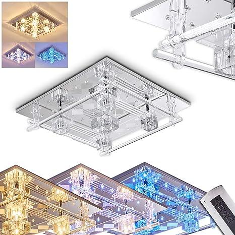 Lámpara de techo Kruishouten metal cromado - Lámpara para salón - dormitorio - pasillo - Con el mando a distancia se puede controlar tanto la ...
