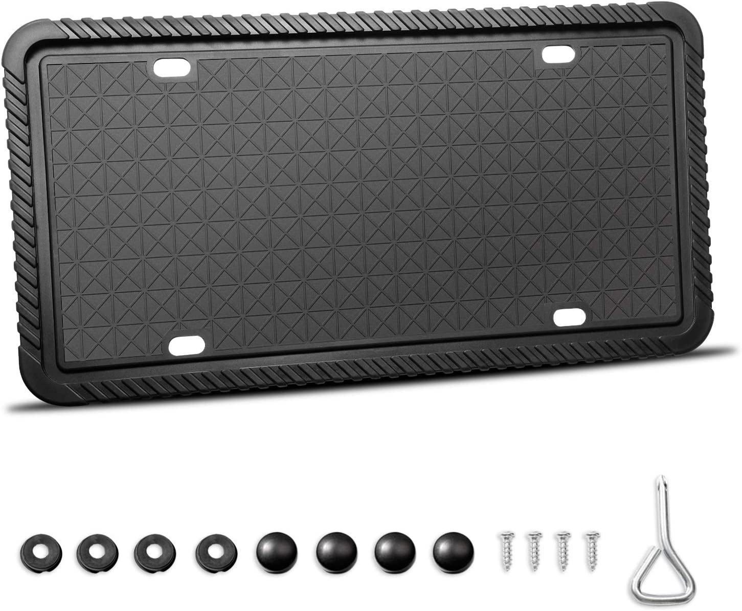 Weather-Proof Universal American Auto Black License Plate Frame TWING Silicone License Plate Frame License Plate Holder with Mounting Accessories Rust-Proof Rattle-Proof