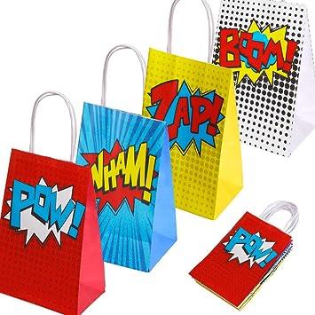 Favores de artículos para fiestas de superhéroes, bolsos de fiesta de superhéroes para decoraciones de fiestas de cumpleaños con tema de superhéroes, ...