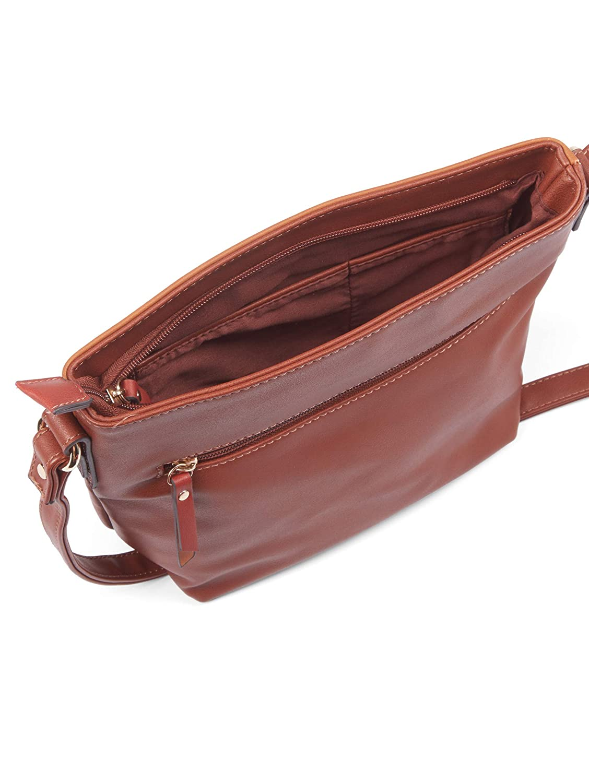 TOM TAILOR axelväska dam tröja, 27,5 x 22 x 10,5 cm, TOM TAILOR handväskor, väskor för damer, små Cognac/brandy