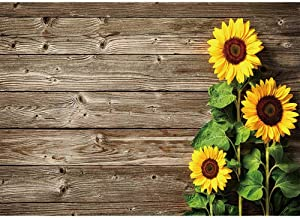 Allenjoy 7x5ft Sunflower Rustic Wood Texture Backdrop Wooden Plank for Children Portrait Photography Newborn Baby Shower 1st Birthday Party Banner Cake Table Decors Photo Studio Props