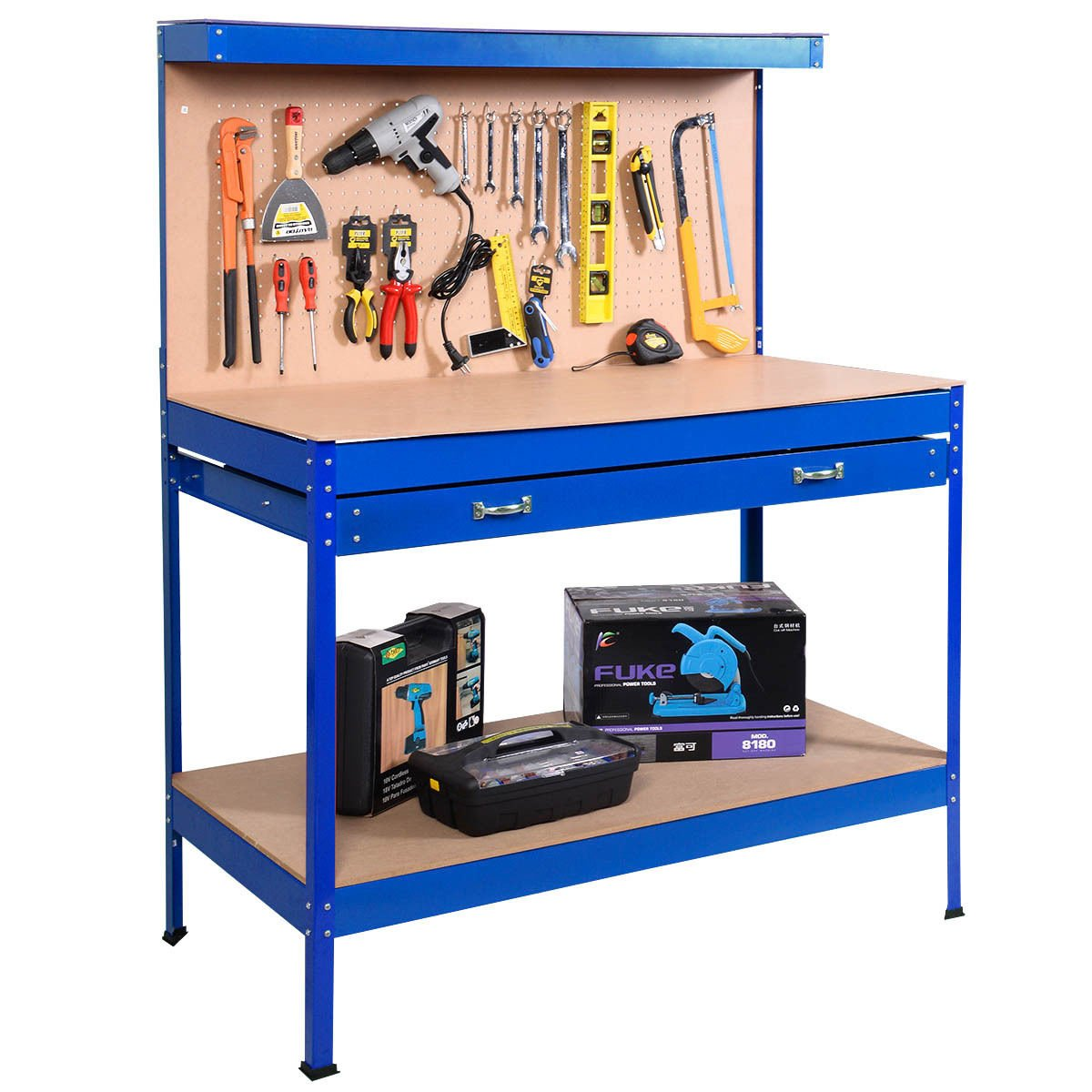 allgoodsdelight365 Blue Work Bench Tool Storage Steel Tool Workshop Table W/Drawer and Peg Board Bonus free ebook By